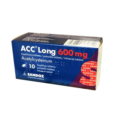 ACC LONG 600 mg 10 dissolving tablets cough bronchitis Strong fast treatment NEW