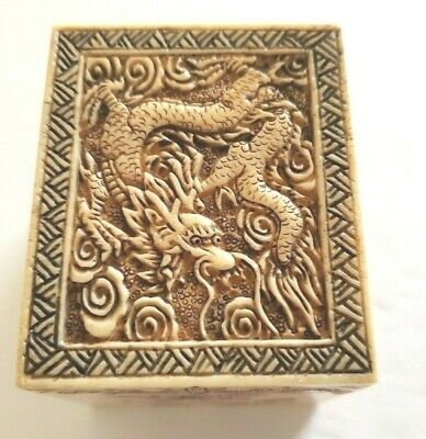 Dragon Trinket Box  Hand Carved Etched 1655 low head