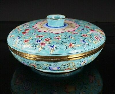 LARGE Antique Chinese Canton Enamel Famille Rose Sweetmeat Dish Box & Cover QING