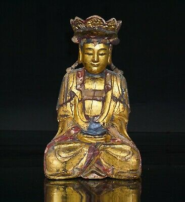 Chinese Antique Gilt Lacquered Wood Figure of Buddha QING