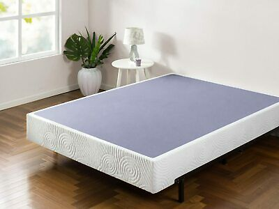 9 Inch Metal Box Spring with Wood Slats Mattress Foundation, Multiple Sizes