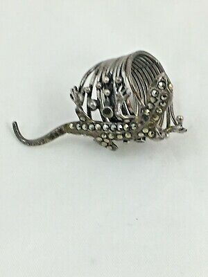 Antique sterling silver marcasite lizard ring