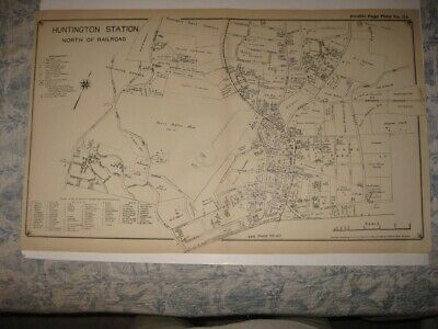 Antique 1917 Huntington Station North Part Long Island Nw York Map Detailed Nr