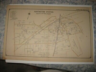 Antique 1917 Huntington Station South Part Long Island New York Handcolored Map
