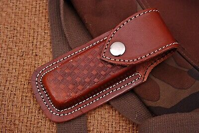 Double Stitch Hand Made Pure Engraved Leather Sheath For FOLDING Knife Or Tool