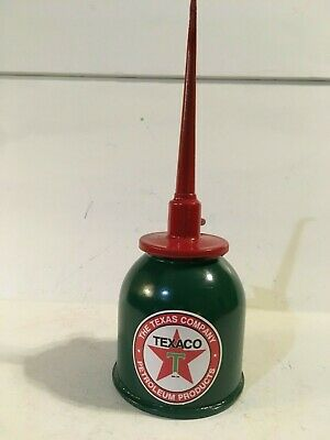 TEXACO Vintage Pump OIL CAN Gasoline Station Gas Spout Red Star Motor Unusual