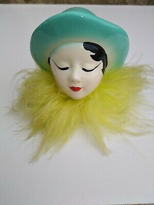 Art deco Style small plaster lady head bust ornament