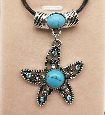 Fashion Jewelry Antique Silver Turquoise Pendant  Rhinestone Necklace Gift A13