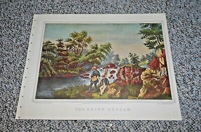 "1974 Vintage Currier /& Ives FISHING /""THE TROUT STREAM/"" AWESOME COLOR Lithograph"