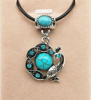 Fashion Jewelry Antique Silver Turquoise Pendant  Rhinestone Necklace Gift L07