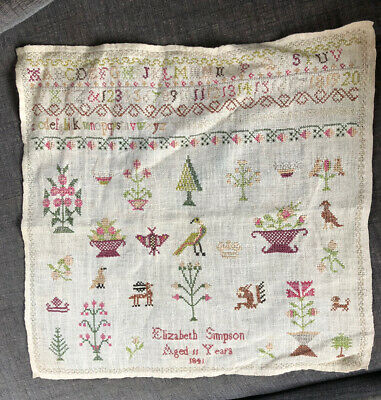 ANTIQUE  C19th VICTORIAN SAMPLER DATED 1841 BY ELIZIBETH SIMPSON AGED 11