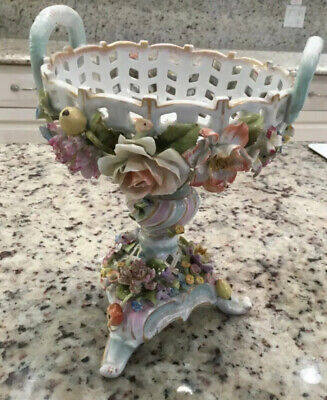 Dresden Porcelain Applied Flowers Reticulated Basket Compote Dish Germany
