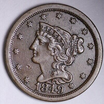 1849 Braided Hair Half Cent CHOICE AU FREE SHIPPING E100 KCCT