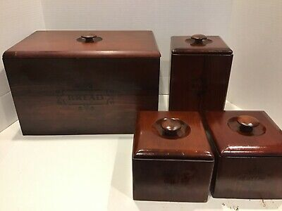 Vintage Wooden Bread Box w/Canister set