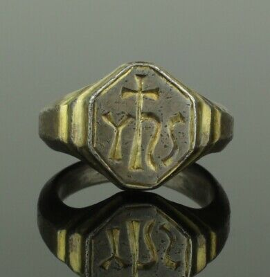 Ancient Medieval Silver Ring With Christogram - Circa 15Th C Ad