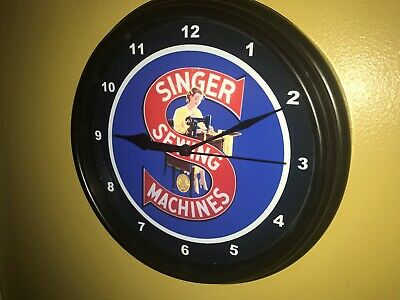 Singer Sewing Machine Seamstress Tailor Advertising Black Wall Clock Sign