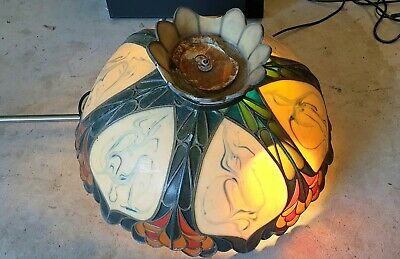 Old Vintage Tiffany Style Vintage Leadlight Stained Glass Light Shade Lamp Large