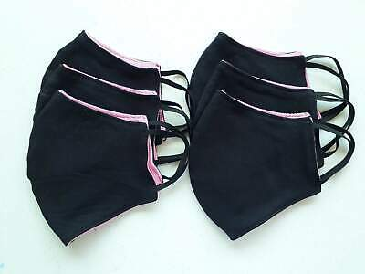 Pack of 6 reusable washable face mask black & pink color