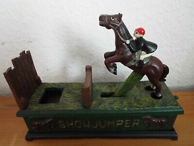 Classic SHOWJUMPER Jumping Horse with Jockey CAST IRON BANK Equestrian