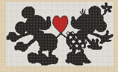 Cross stitch chart mickey mouse /& minnie wish upon a star flowerpwoer37-uk