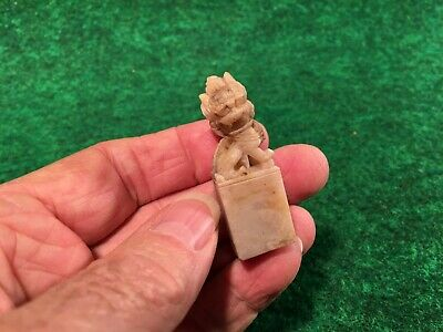 Antique Chinese Jade Or Quality Stone Carving Blank Chop Seal Foo Dog Dragon #-I