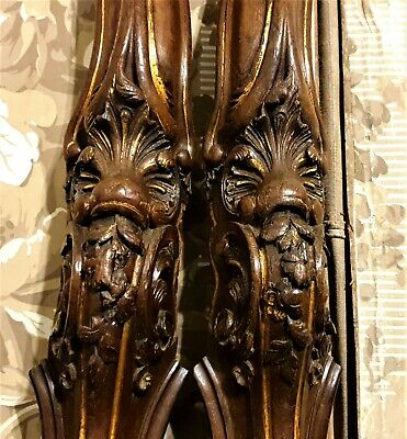 Pair Louis XV wood carving pedestal table leg Antique french salvaged sculpture