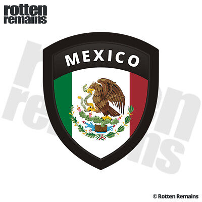 """6-1.7/"""" x 2/"""" Mexico flag shield decal Mexican badge vinyl hard hat sticker"""