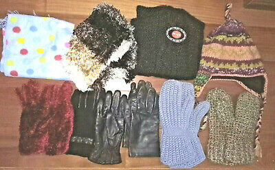 9 pc WINTER Lot~GLOVES Mittens SCARVES HAT~NEPAL Knit HandMade Leather Infinity