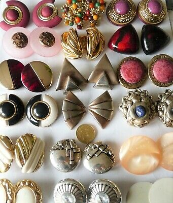 "Huge Vintage Fantasy Earring's Lot De Bijoux Anciens Enormes Clips ""Fantaisie"""