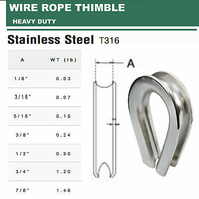 "SS316 HEAVY DUTY Wire Rope Thimble 1/8"", 3/16"", 5/16"", 3/8"", 1/2"", 3/4"", 7/8"""