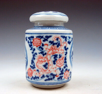 Blue&White Porcelain Ox-Blood Red Flowers Dragons Little Water Pot Jar #07031606