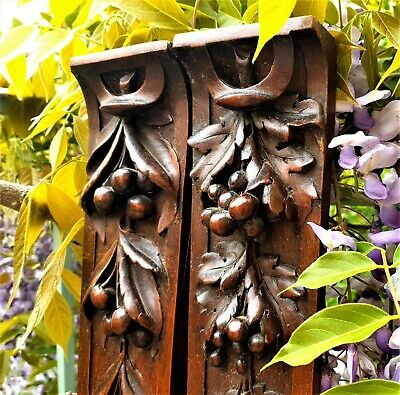 Pair fruit garland carving corbel bracket Antique french architectural salvage