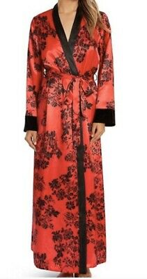 In Bloom by Jonquil Red/Black Floral SATIN Flowing Robe With Velvet Cuffs LG