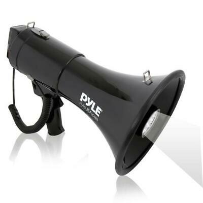 Pyle Megaphone PA Bullhorn, Siren Alarm, Adjustable Volume, LED Lights,