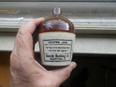 "Motto Jug ""If You Try Me Once"" Detrick Distilling Dayton,Ohio 1900 Whiskey Jug"