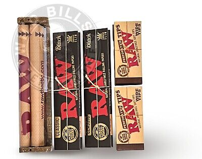 AUTHENTIC RAW BLACK ROLLING PAPER KING SIZE BUNDLE ROLLER+PAPERS+TIPS+Tube