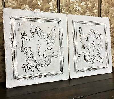 Pair distressed chippy painted panel Antique french wooden architectural salvage