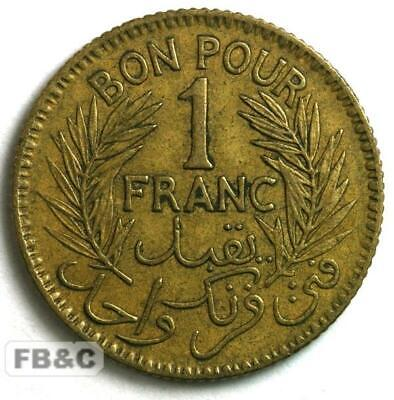 WW2 1945 Tunisia 1 Franc Coin - KM#247 Chambers of Commerce Coinage