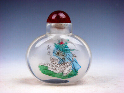 Peking Glass Inside *Zodiac Tiger* Reverse Hand Painted Snuff Bottle #04142002