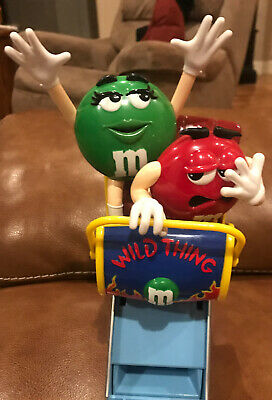"M&M Wild Thing Roller Coaster Plastic Candy Dispenser 11"" Tall Mars Inc..Clean!!"
