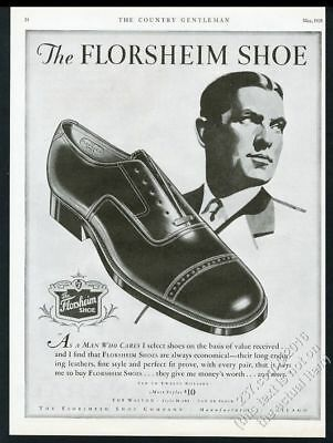 1928 Florsheim men's cap toe shoes illustrated vintage print ad