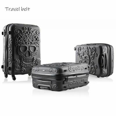 """3D Skull Rolling Luggage Spinner Travel Suitcase Design Hard Trolley 20"""" 24"""" 28"""""""