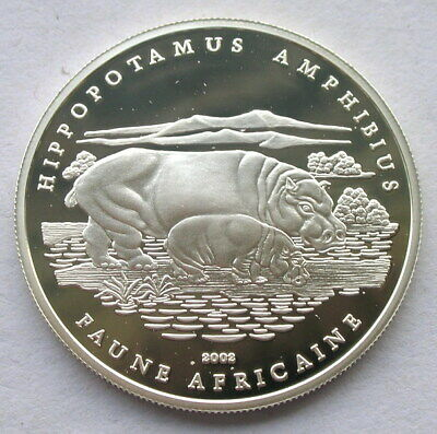Chad 2002 Hippo 1000 Francs Silver Coin,Proof