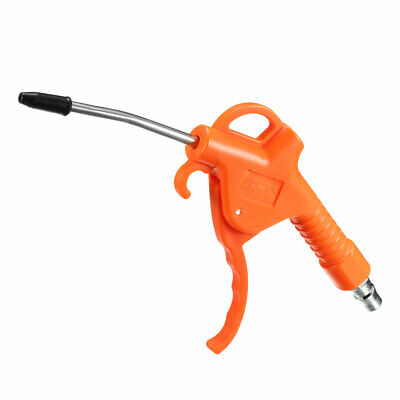 Air Blow Gun with 3.9-Inch Long Angled Nozzle 1/4PT Removable Rubber Tip Orange