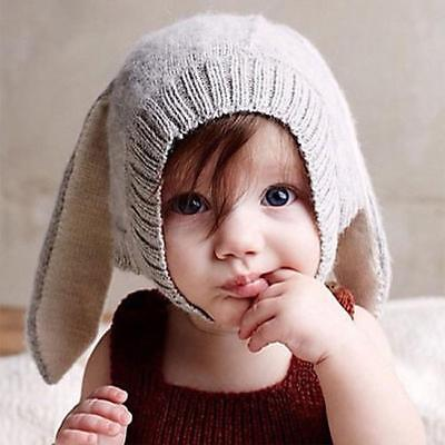 Toddler Baby Kid Rabbit Bunny Ears Hat Crochet Knitted Earflap Beanie Cap CP
