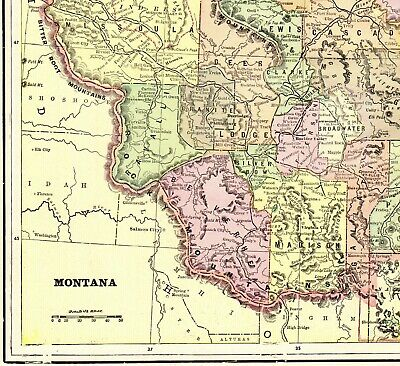 1898 Antique MONTANA State Map Vintage Cram's Map of Montana Wall Art 7637