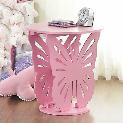 Pink Children's Wooden Butterfly Table Round Side End Lamp Table Kids Bedroom