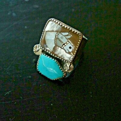 Vtg Zuni Sterling Silver Turquoise Multi Stone Inlay Horse Simplicio Ring s10.75