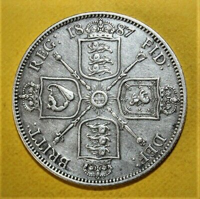 Great Britain 1 Florin 1887 Extremely Fine Silver Coin - Queen Victoria