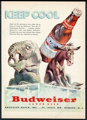 1952 republican elephant democrat donkey election theme Budweiser Beer print ad